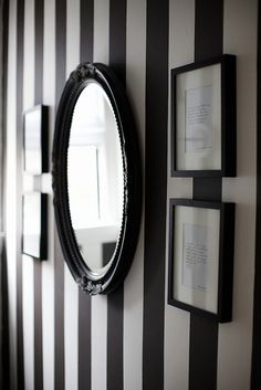 The Little Black and White Cottage on Harlequin Lane🃏 Black And White Wall Art, Black And White Painting, Black White, Striped Walls, White Walls, Black Decor, White Decor, Escalier Art, Painting Stripes On Walls