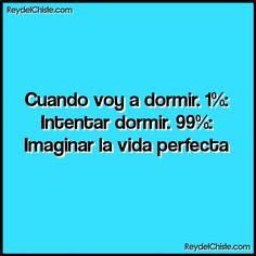 Cuando voy a dormir. 1%: Intentar dormir. 99%: Imaginar la vida perfecta