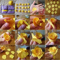 How to make a rose out of clay :-)  You could make one of marzipan to!