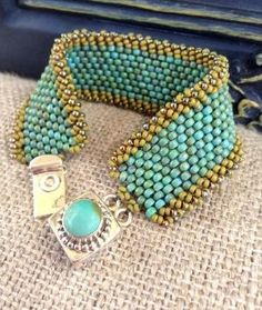 Turquoise Peyote Stitch Beaded Bracelet~Statement Country Cuff~Sterling Turquoise Clasp~Seed Bead
