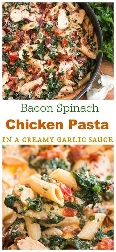 A perfect blend of bacon, spinach, chicken, and pasta in a savory garlic cream…