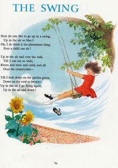 Vintage Books for the Very Young: A Child's Garden of Verses by Robert Louis Stevenson, illustrated by Hilda Boswell. Collins Sons & Co LTD., We had a swing in our backyard.and how high can you fall?