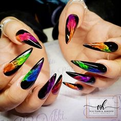 Whether you smoke or not? You must have seen the effect of smoke coming out of your mouth. Today let's see what the smoke nail designs look like. As you can see, smork nails are beautiful and attractive. Look at our collection of 28 smoke nail art de Stiletto Nail Art, Cute Acrylic Nails, Acrylic Nail Designs, Nail Art Designs, Rainbow Nails, Neon Nails, Neon Nail Art, Black Gel Nails, Ballerina Nails Designs
