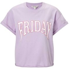 Miss Selfridge Lilac Friday T-Shirt (270 ARS) ❤ liked on Polyvore featuring tops, t-shirts, shirts, tees, lilac, purple shirt, purple tee, cotton t shirts, lilac shirt and short sleeve cotton tops