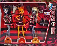 Monster High FEAR SQUAD 3 Doll Set CHEERLEADERS FEARLEADING Toralei Werecat Twin!!!!!!!