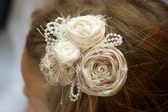 vintage inspired wedding flower hair piece beige cream ivory pearls beads  photo prop  hair clip fabric flower children newborn flower girl. $20.00, via Etsy.
