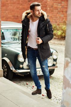Black parka jacket + white t-shirt + distressed skinny jeans + suede boots : Black parka jacket + white t-shirt + distressed skinny jeans + suede boots Trendy Mens Jeans, Winter Essentials For Men, Black Shirt Outfit Men, Mens Parka Jacket, Parka Outfit, Dope Outfits For Guys, Black Parka, Boys Clothes Style, Casual Wear For Men