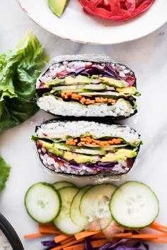 Light, portable, and totally customizable; this Japanese-style sandwich, known as Onigirazu, makes for a perfect light lunch! Japanese Dishes, Japanese Food, Onigirazu, Asian Recipes, Ethnic Recipes, Wrap Recipes, Vegan Sushi, Snacks, Whole Food Recipes
