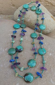 Items similar to Southwest Necklace with natural stones and seed beads on Etsy - - Items similar to Southwest Necklace with natural stones and seed beads on Etsy Jewelry by Rebecca Pavlik Südwestliche Halskette von RebeccaPavlik Stone Jewelry, Wire Jewelry, Boho Jewelry, Jewelry Crafts, Beaded Jewelry, Jewelery, Jewelry Necklaces, Jewelry Design, Beaded Bracelets