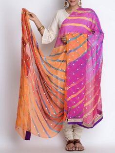 Multi-Color Chiffon Phool Patti Lace Border Leheriya Dupatta by Bandhej