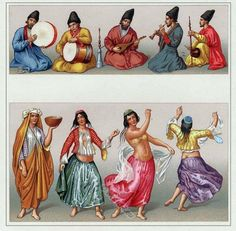 The Motrebs. Persian dancer and musicians, 16th century.