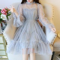 Japanese Star Mesh Dresses – Miracles from Nature Kawaii Fashion, Lolita Fashion, Cute Fashion, Teen Fashion, Star Fashion, Pretty Outfits, Pretty Dresses, Beautiful Dresses, Mesh Dress