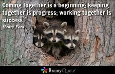 Coming together is a beginning; keeping together is progress; working together is success. - Henry Ford at BrainyQuote