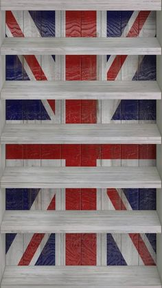 ~ Union Jack shelves ~ Ev would love these in his office space ~