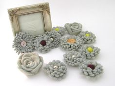 recycled sweater flowers!
