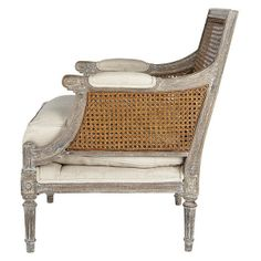 Painted Upholstered Cane Back Chair