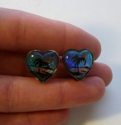 Sterling Silver Painted Butterfly Wing Earrings by onetime on Etsy, $6.25