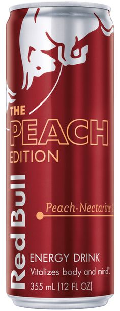 Red Bull, The Peach Edition, peach-nectarine, Energy Drink Red Bull Drinks, Bull Tv, Diving World, Normal Body, Cacao Beans, Amino Acids, Energy Drinks, Berries, Coconut