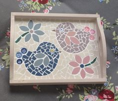 Lily Mosaics Cute Lovebirds Mosaic Tray