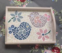 Lily Mosaics Cute Lovebirds Mosaic Tray