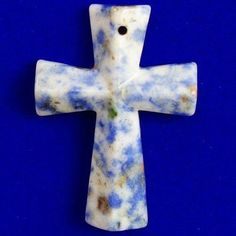 Faceted-Sodalite-Cross-Pendant-Bead-46x32x6mm-T20762 Cross Pendant, Beads, Beading, Bead, Pearls, Seed Beads, Beaded Necklace, Pony Beads