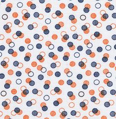 Fabric Finders, Inc. Print #1338 Orange/Navy