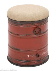 Vintage Industrial Oil-Drum Shaped Stool with a Soft Burlap Fabric Seat - Find it at:  http://www.tuscanhomedecorandmore.com/cottage-vintage-chic-red-metal-oil-drum-shaped-stool-w-burlap-cushioned-seat/