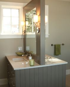 TruKitchens in Grand Rapids, Michigan specializes in custom kitchen design, bathroom design, home remodeling, custom closets and outdoor kitchens. Transitional Bathroom, Custom Closets, Custom Kitchens, Home Remodeling, Living Spaces, Kitchen Design, Mirror, Furniture, Home Decor
