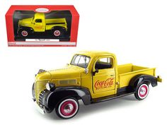 "1941 Plymouth Pickup Truck Yellow ""Coca Cola"" 1/24 Diecast Car Model by Motorcity Classics - Brand new 1:24 scale diecast car model of 1941 Plymouth Pickup Truck Yellow ""Coca Cola"" die cast car by Motorcity Classics. Brand new box. Rubber tires. Has steerable wheels. Detailed interior, exterior. Has opening hood and doors. Made of diecast with some plastic parts. Dimensions approximately L-8,W-3,H-2.5 inches. Please note that manufacturer may change packing box at anytime. Product will stay…"
