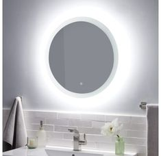 Buy the Signature Hardware 433792 N/A Direct. Shop for the Signature Hardware 433792 N/A Morse W x H Round LED Lighted Frameless Mirror and save. Simple Bathroom, Modern Bathroom, Master Bathroom, Mirror Bathroom, Bathroom Ideas, Vanity Mirrors, Peach Bathroom, Bathroom Organization, Blue Bathrooms