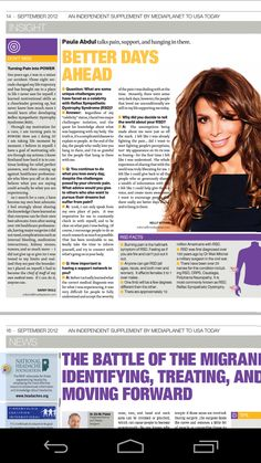 Barby Ingle and Paula Abdul in USA Today's Chronic Pain Campaign edition September 21, 2012