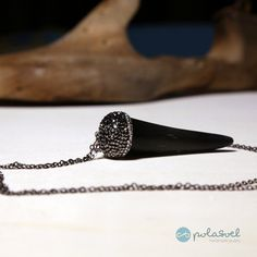 Black tooth charm, chain, necklace with black zirconioum natural stones by polasoeljewelry on Etsy Beautiful Necklaces, Natural Stones, Tooth, Charmed, Trending Outfits, Chain, Unique Jewelry, Handmade Gifts, Etsy