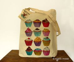 Cupcakes Illustration Eco Cotton Tote Bag by MysticMooseCrafts