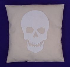 Cream & White Skull Retro Modern Unique Cushion Pillow Cover Punk Goth Emo Rock Grunge Pirate Halloween Applique 14 16 18 20 22 24 inch size by BeUniqueBaby on Etsy