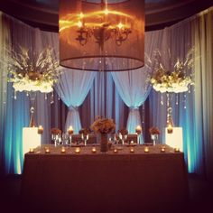 Head Table...could do tealights like this and a lantern in the middle or lantern on each end, tealights and bouquet in middle...S