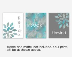 Bathroom Wall Art Relax Soak Unwind Home Decor Pictures Set Of 3 Botanical Grey Turquoise