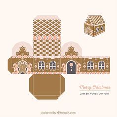 Ginger house, cut out box Free Vector Christmas Gingerbread House, Miniature Christmas, Christmas Paper, Christmas Crafts, Christmas Boxes, Vector Christmas, Christmas Town, Christmas Wrapping, Christmas Ideas