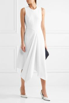 White stretch-cady Concealed button fastening at back, concealed zip fastening along side 64% viscose, 32% acetate, 4% elastane; lining: 52% viscose, 48% cotton Dry clean  Imported