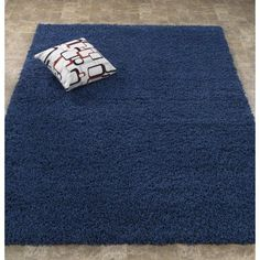 Ottomanson Soft Solid Shaggy Contemporary Plush Shag Area Rug, Navy, Blue