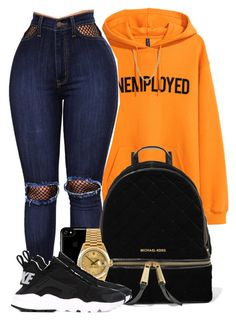 """Can you handle me?"" by mindlesspolyvore ❤ liked on Polyvore featuring H&M, WithChic, MICHAEL Michael Kors, Speck, Rolex and NIKE"