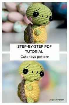 PATTERN crochet TURTLE pdf tutorial how crochet turtle mini sea turtle amigurumi pattern with removable shell for baby ocean toy by LoopyPattern tutorial Crochet Toys Patterns, Amigurumi Patterns, Stuffed Toys Patterns, Knitted Dolls, Crochet Dolls, Crochet Hats, Beginning Crochet, Crochet Turtle, Turtle Pattern
