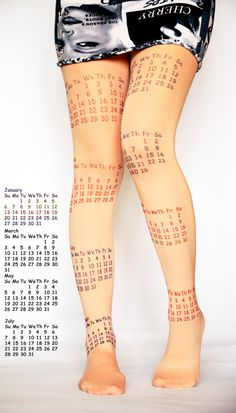 Light Pink Pantyhose Tights Colorful Print Calendar  Leggings Tattoo Tights Pantyhose Handmade. $22.90, via Etsy.