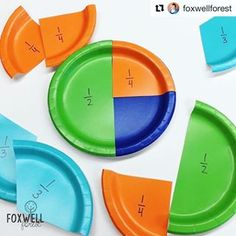 Super smart way to teach equivalent fractions, ordering fractions, comparing fractions, etc. My new FAVORITE way to introduce fractions! We even use them to help us order fractions on a number line. Colored paper plates from dollar store. Comparing Fractions, Teaching Fractions, Math Fractions, Teaching Math, Ordering Fractions, Finding Equivalent Fractions, Teaching Ideas, Dividing Fractions, Math For Kids