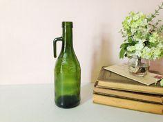 VINTAGE GLASS BOTTLE Redoro Olive Oil Green by AnnmarieFamilyTree