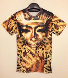 Gold Short Sleeve Egyptian Pharaoh Print T-shirt - Sheinside.com