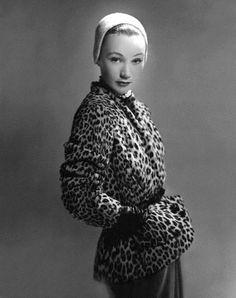 """""""Sophie Malgat is wearing leopard-skin jacket, beaver-cloth cap, photo by Erwin Blumenfeld, 1949"""""""