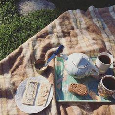 Quando o sol dá as caras chá no jardim. Com torradas (sem glúten!) patê de trufas tofu cremoso (cream cheese) lactofermentado e com algas e biscoitos amanteigados de chocolate. Tudo #vegano  comprado na lojinha de produtos orgânicos da cidade de Anne no interior da França (pasmem! Uma cidade de 2 mil habitantes e com uma loja de orgânicos abarrotada de delícias veganas ) by papacapim_sandra