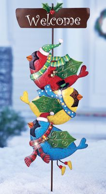 Lighted Stacked Birds Holiday Garden Welcome Stake