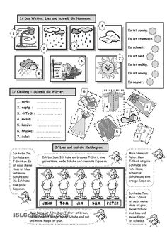 Worksheet: Clothes and weather - Education Science Art Education Resources, Science Education, Teacher Resources, Primary School Teacher, Primary Teaching, German Resources, Deutsch Language, Learn Another Language, Worksheets