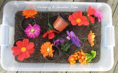 Gardening Sensory play with dirt and fake flowers. Could use black beans instead of potting soil too for cleaner play.